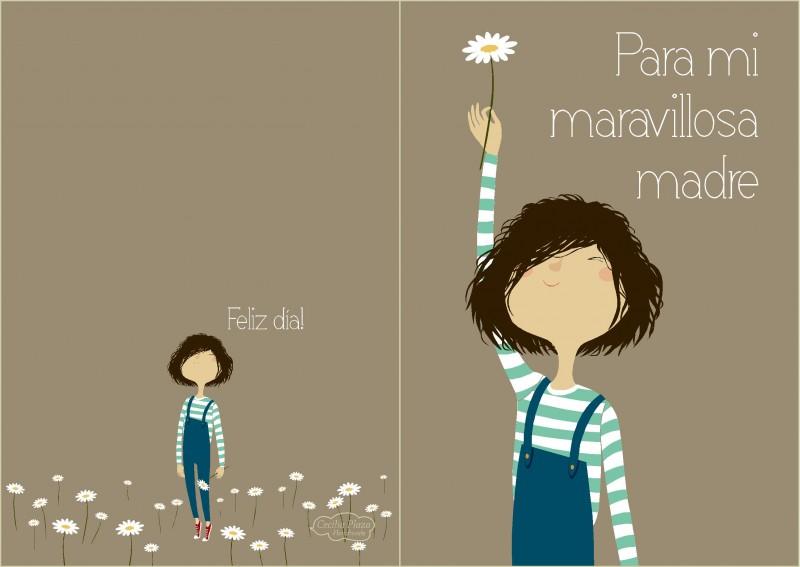 Mother´s day_4(Para mi maravillosa madre,Niña con flor fondo marrón)baja