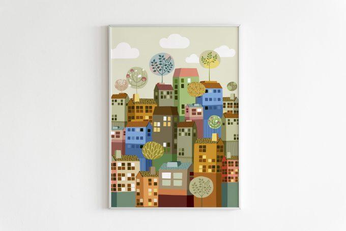 Ciudad-colores ilustradora Cecilia Plaza