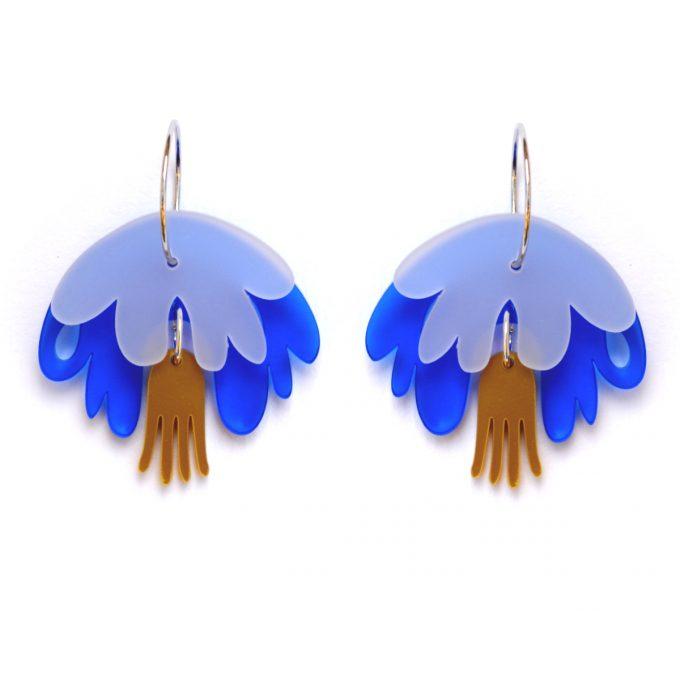 Pendiente Medusa Blanca-Azul-Dorada